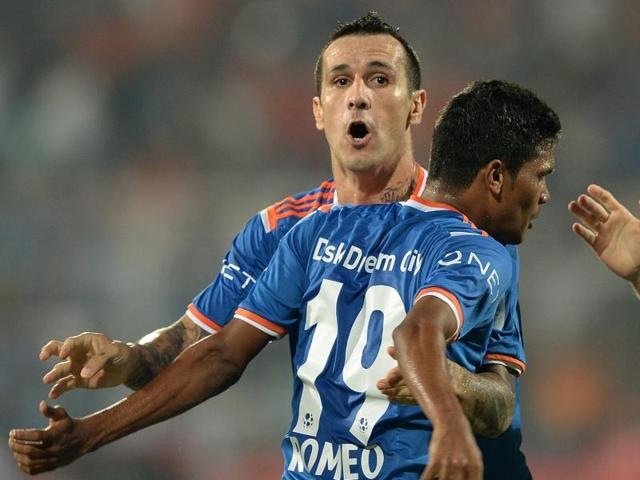 FC Goa player Rafael Coelho Luiz and teammate Romeo Fernandes after the final match between Chennaiyin FC and FC Goa of the Indian Super League (ISL).