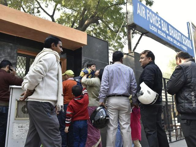 Parents buy nursery admission forms for their children at the Air Force Bal Bharti School, Lodhi Road, New Delhi on Friday.