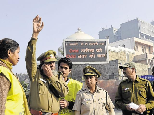 Police and civil defence volunteers gear up for the odd-even plan on Thursday at ITO.
