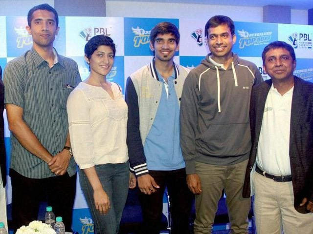 National badminton coach Pullela Gopichand, PBL's Bengaluru Franchise owner Prasad Mangipudi, former player Arvind Bhat and ace players Ashwini Ponnappa and Kidambi Srikanth at a press conference for the launch of the Premier Badminton League (PBL).