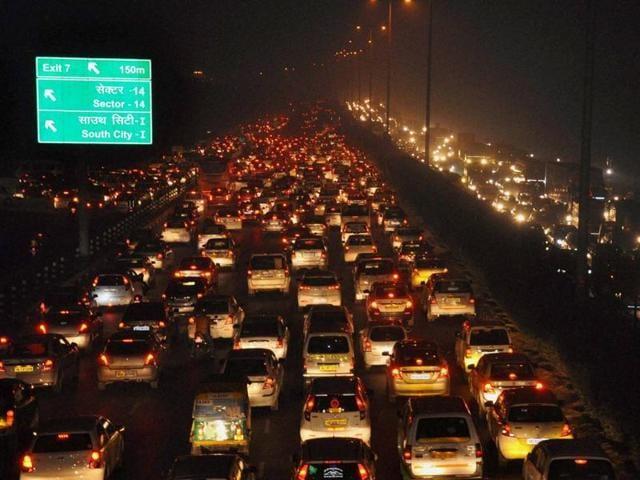 Heavy traffic jam on Delhi Gurgaon expressway during the New Year celebrations, in Gurgaon on Thursday night.