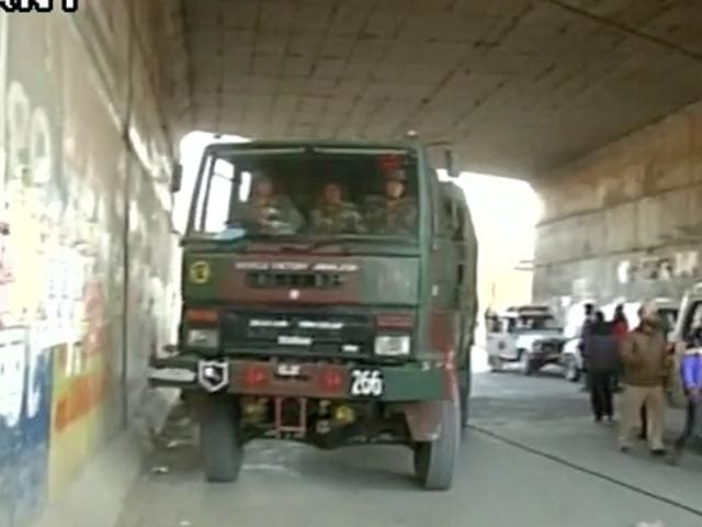 Security deployed outside #Pathankot Air Force Station