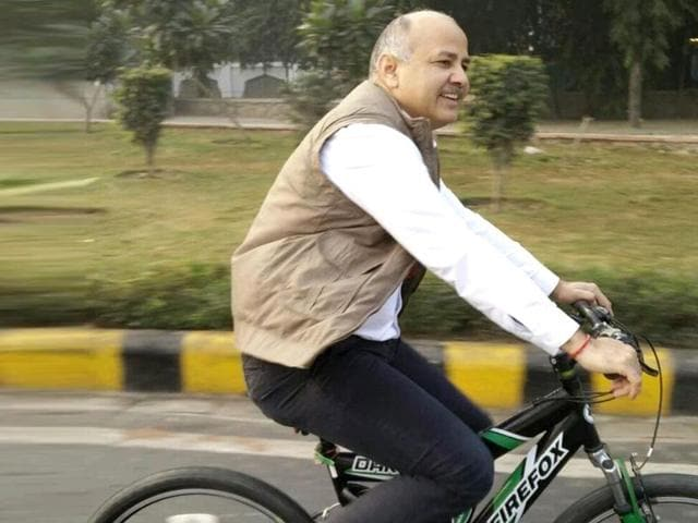 Sisodia first rode to the All India Radio office for a live show and then cycled to his office at the Delhi Secretariat.