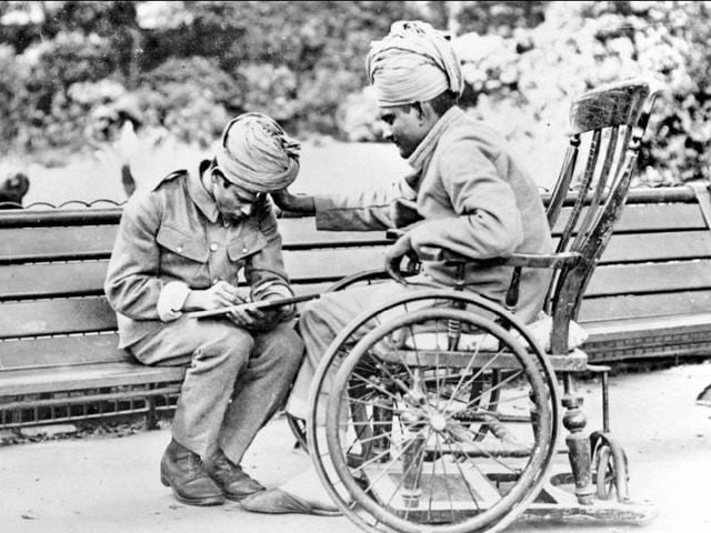 Wounded Indian soldiers write letters home from Brighton, UK, the sea town where they were sent to recuperate.