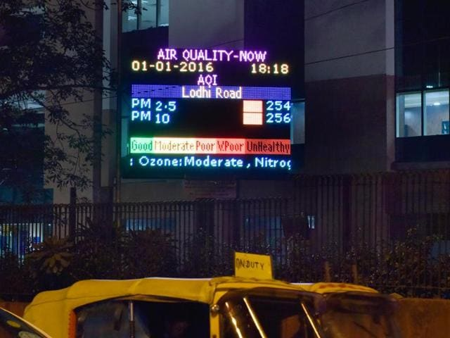 The Air Quality Measurements at Lodhi Road on the first day of the odd even formula application in New Delhi, India, on Friday, January 1, 2016.