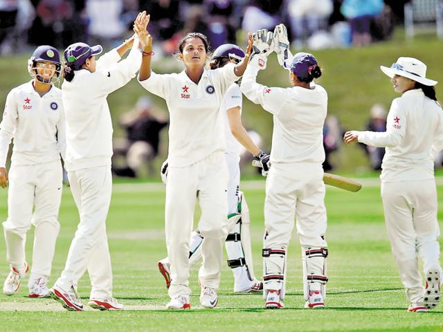 India women celebrate a wicket in a Test at Wormsley in 2014 where they thrashed hosts England.