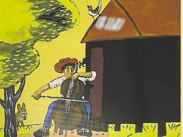 Takeshi Motai's 'Gorsh the Cellist'.(Saumya Khandelwal / HT & The Japan Foundation)