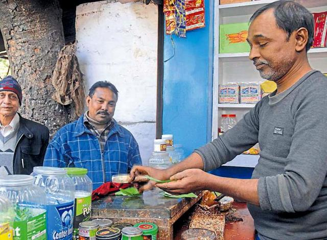 Laxman Prasad at his shop in Jamshedpur.