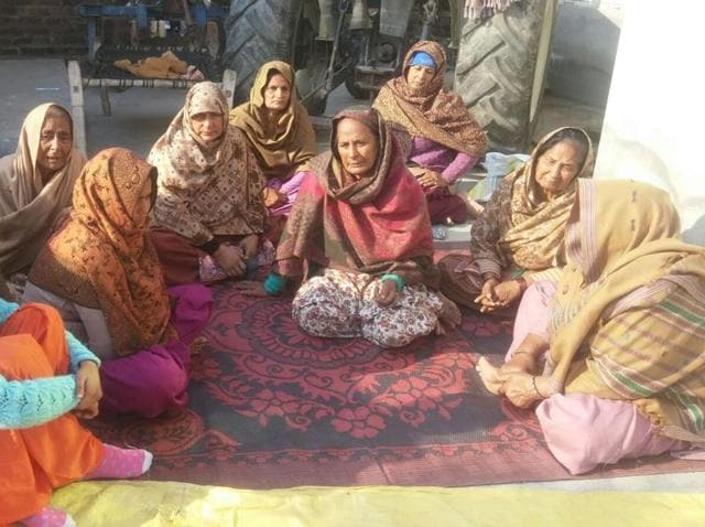 Women mourning the death of Fateh Singh Thakur at Jhanda Gujjaran village in Gurdaspur district on Saturday.