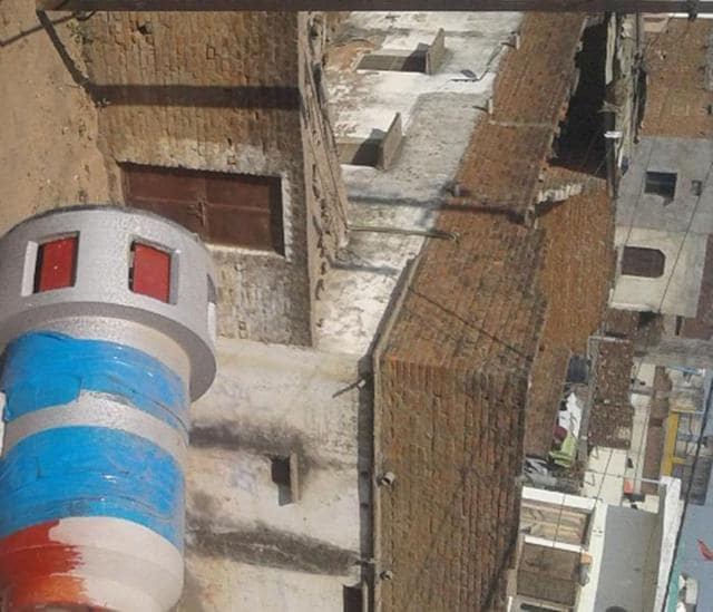 A hooter installed on the rooftop of a building in Damoh.