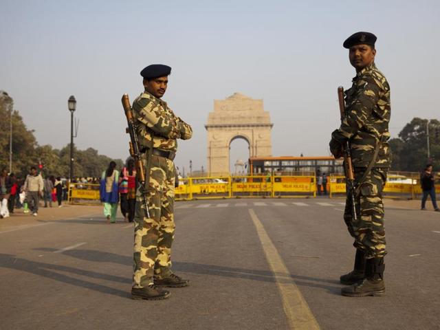 Forces guard India Gate as part of enhanced security measures following the attack on an air force base in Punjab's Pathankot.