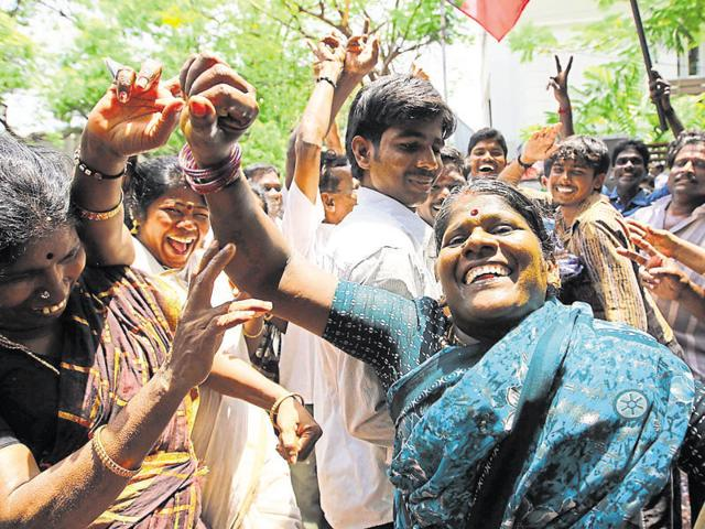 AIADMK supporters during Jayalalithaa's victory in the 2011 assembly elections.