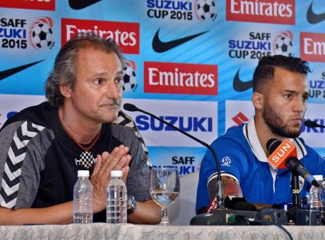 Peter Segrt, coach of defending champion Afghanistan and Faysal Shayesteh, national football team captain addressing the media.