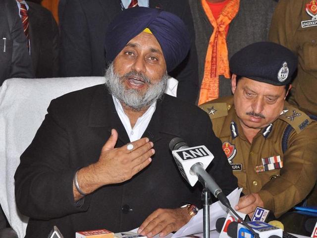 Punjab deputy CM Sukhbir Singh Badal addressing a press conference over militants attack at Indian Air Force base in Pathankotat on Sunday.