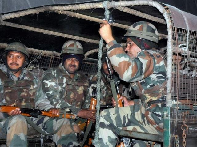 Soldiers in Pathankot during a combing operation on Saturday evening.
