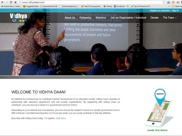 A snapshot of Vidhyadaan website.