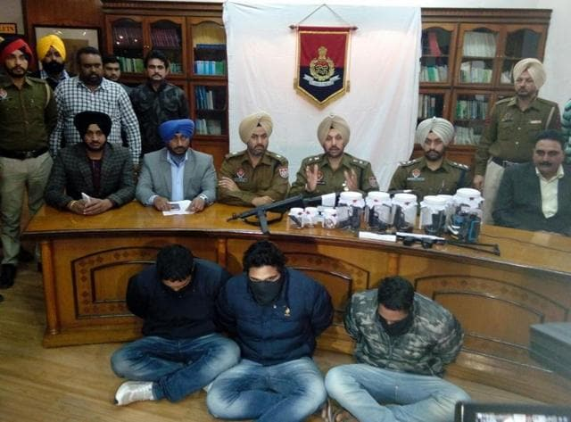 The crime investigation agency (CIA) wing of SAS Nagar police have arrested three men with weapons smuggled from Pakistan along with a Pakistani SIM card.