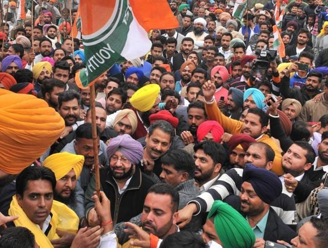 State Congress president and Amritsar MP Capt Amarinder Singh along with state youth congress president Amarpreet Singh Lally flagging off padyatra at Khatkarkalan.