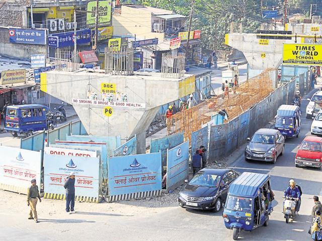 The flyover at Ballupur Chowk in Dehradun under construction.