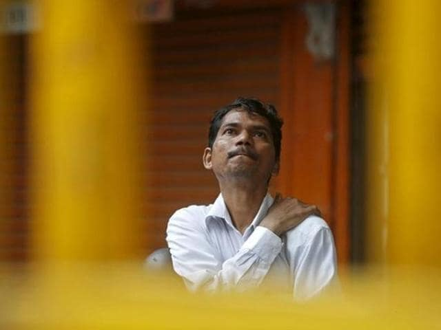 The BSE Sensex was trading down 493.05 points or 1.9% at 1.45 pm. The wider NSE Nifty declined 160.55 points or 2.02% at 7,802.65 points