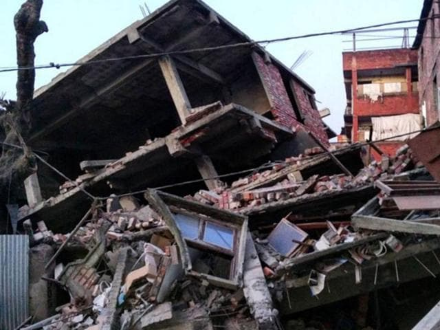 This picture taken from Instagram shows damage from a strong 6.7 magnitude earthquake which struck northeast India near the country's borders with Myanmar and Bangladesh in the city of Imphal.