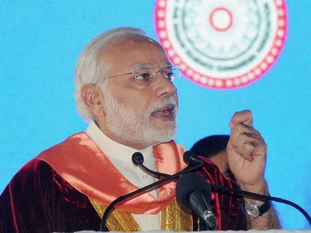 Prime Minister Narendra Modi at the inauguration of 103rd Indian Science Congress at University of Mysore in Mysore, Karnataka.
