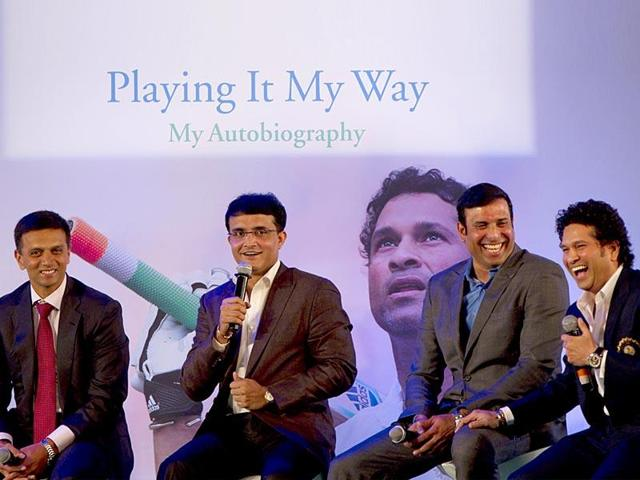 Cricket legend Sachin Tendulkar with three other greats of the game Sourav Ganguly, Rahul Dravid and VVS Laxman at the launch of his autobiography Playing It My Way in Mumbai.