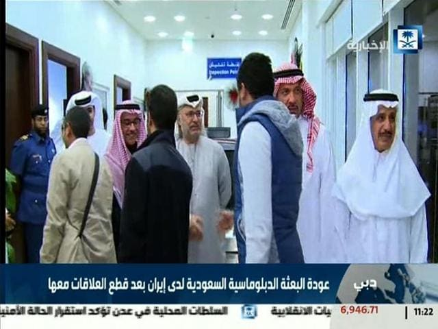 An image grab taken from Saudi Arabia's official Al-Ikhbaryia TV channel on January 4, 2016, shows what the news channel said were members of the Saudi diplomatic mission in Tehran being greeted by Saudi officials upon their arrival at Dubai airport.