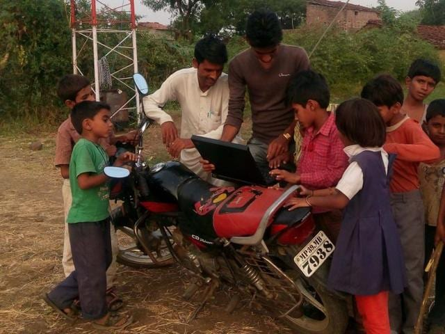 Villagers of Bawdikhera Jagir use free Wi-Fi facility in their village. The service was formally launched on January 1.