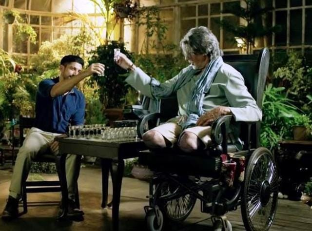 The DRG are miffed that Amitabh Bachchan's character has been limited to a wheelchair in the film.