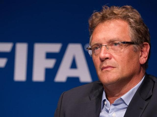 A file photo of former FIFA Secretary General Jerome Valcke giving a press conference at the end of a meeting of the FIFA Executive Committee.