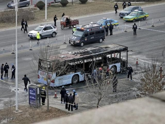 China,Bus fire,17 killed