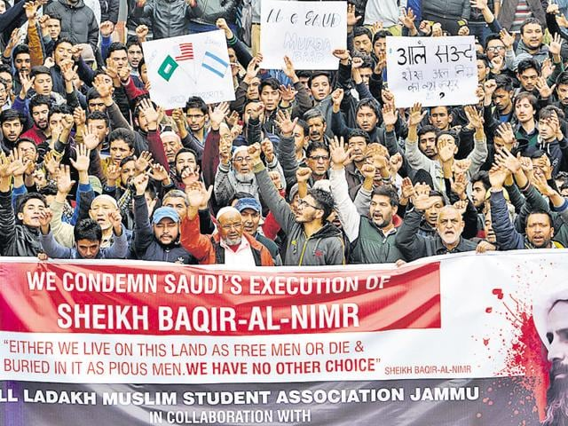 Shia Muslims holding placards and raising slogans against the Saudi Arabia monarchy in Jammu on Monday.