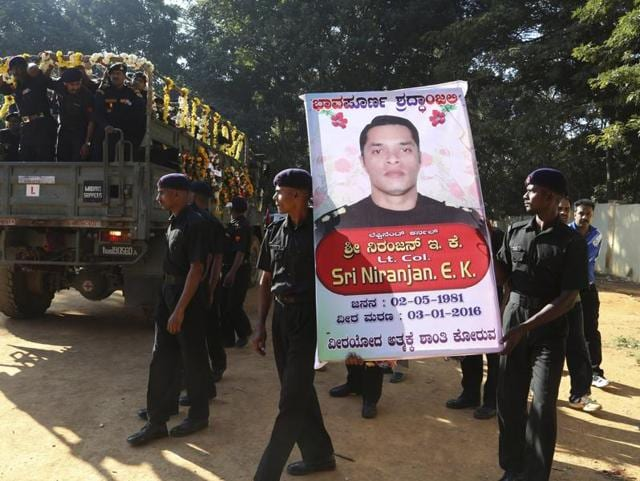 Personnel from three armed forces paying  tribute to Lt Col Niranjan E Kumar in his village in Palakkad on Tuesday.  The NSGcommando lost his life during a counter-terror operation at Punjab's Pathankot air force base.