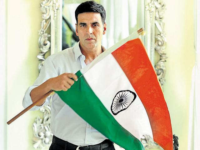 Actor Akshay Kumar shows his patriotic colours as he poses for a profile shoot.