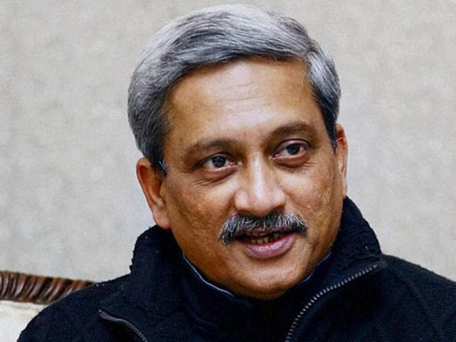 Defence Minister Manohar Parrikar arrives at Parliament  to attend the budget session.