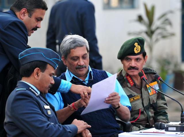 Defense minster Manohar Parikar along with senior officials of air force and army during the press conference at Pathankot Airbase on Tuesday.