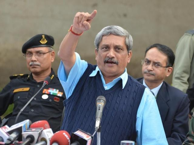 Parrikar visited the air base even as forces continued mopping up operation at the airfield following one of the worst terrorist attack in an defence installation in the country in recent times.