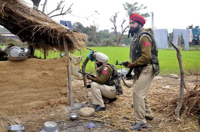 Punjab Police conduct a search operation at Village Manwal at Pathnakot.
