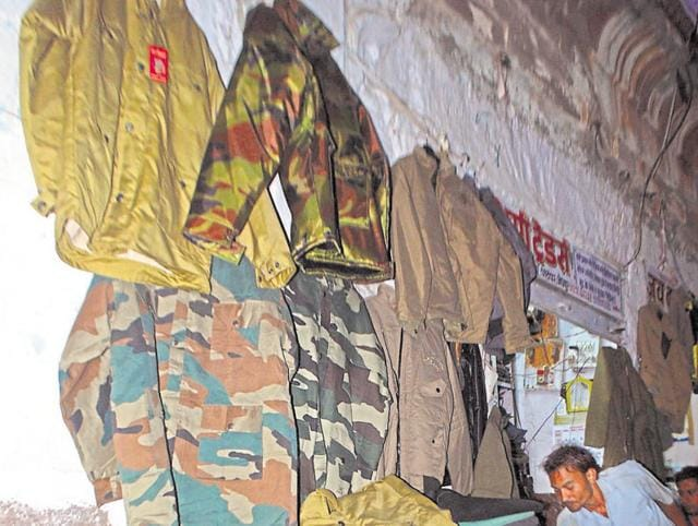 Army fatigues being sold at Sardar market in Jodhpur.