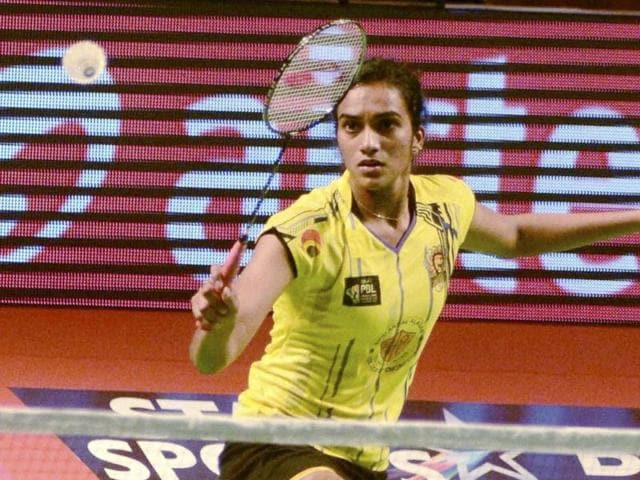 PV Sindhu of Chennai Smashers in action against PC Thulasi of Delhi Acers during Premier Badminton League ( PBL).