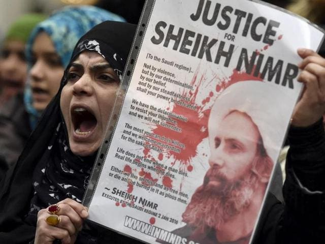 Iranian women attend a rally to protest the execution by Saudi Arabia of Sheikh Nimr al-Nimr, a prominent opposition Shia cleric, in Tehran, Iran, on January 4, 2016.