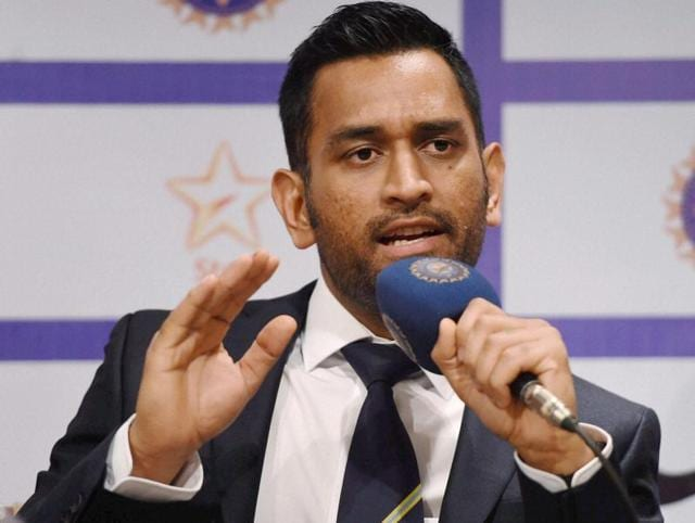 Indian Cricket Captain M S Dhoni speaks during a press conference in Mumbai.