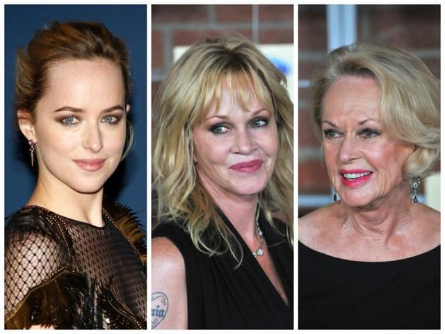 Fifty Shades of Johnson: Dakota Johnson, left, her mother Melanie Griffith, centre, and grandmother Tippi Hedren.