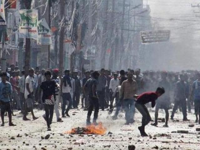 File photo of violence on the streets of Nepal.