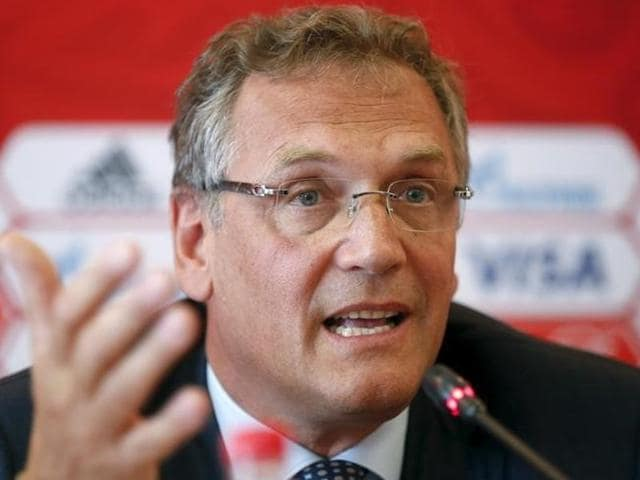 A file photo of  FIFA Secretary General Jerome Valcke giving a press conference at the end of a meeting of the FIFA Executive Committee in Zurich.
