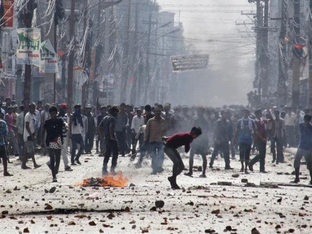 Two Madhesi protesters were injured in a clash with a group of Indian traders at the Birgang-Raxaul border point on Wednesday morning.