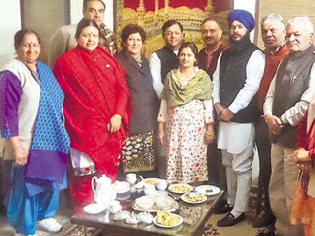 SAD-BJP leaders at nominated councillor Shagufta Parveen's house on Tuesday.