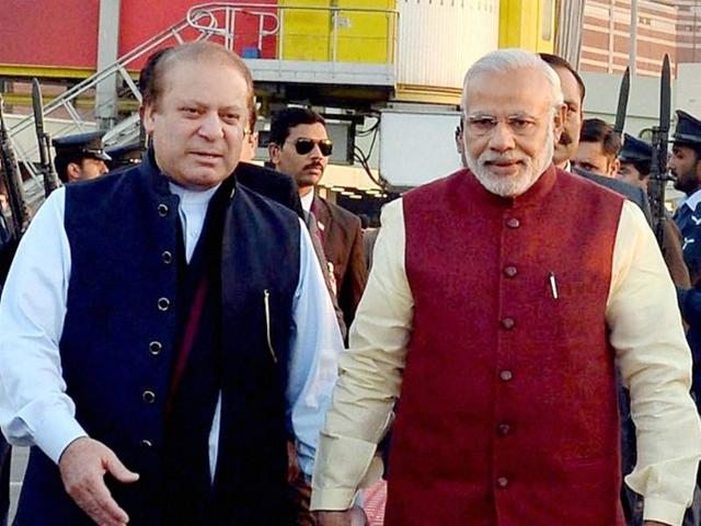 Prime Minister Narendra Modi and his Pakistani counterpart Nawaz Sharif look on during a meeting in Lahore. Pakistan's defence minister said the country is itself a victim of terrorism after militants believed to be from Pakistan attacked the Pathankot air force base in India.