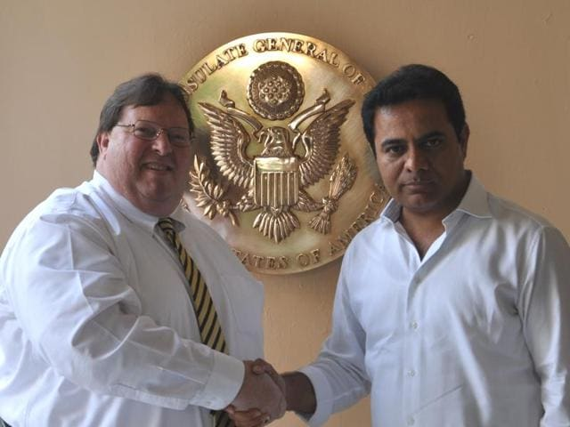 Telangana IT minister KT Rama Rao (right) with US consul general Michael Mullins.